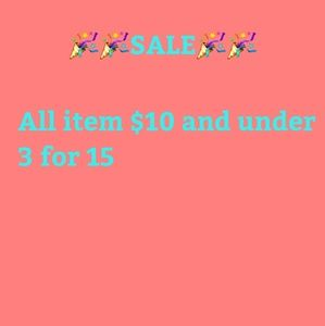All items $10 and under 3 for $15.